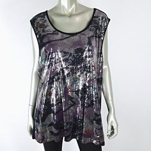 Plus Size 20W 22W Sequin Sleeveless Stretch Top